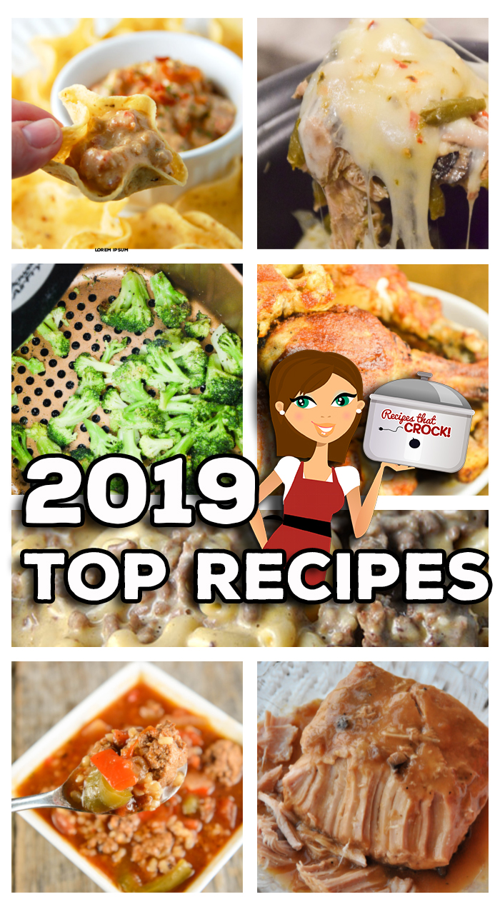 The Top Recipes of 2019 include Crock Pot Recipes, Low Carb Recipes, Electric Pressure Cooker Recipes (for the Instant Pot and Ninja Foodi) and Air Fryer Recipes! These are the 10 recipes readers made the most in 2019. Recipes including: Crock Pot Bacon Cheeseburger Dip, Air Fryer Roasted Broccoli, Crock Pot Crustless Pizza, Instant Pot Chicken Drumsticks, Crock Pot Cheesy Beefy Mac Casserole, Low Carb Crock Pot Creamy Pizza Soup, Crock Pot Stuffed Pepper Soup and More!