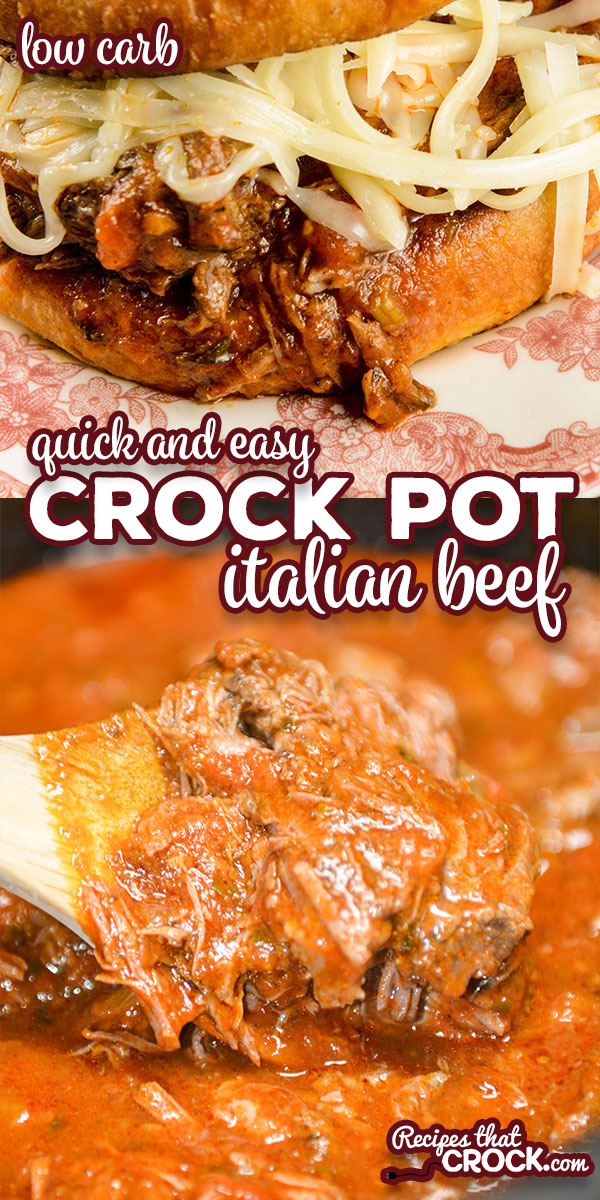 Our quick and easy Crock Pot Italian Beef is a flavorful dish with savory shredded beef and a tomato based pepperoncini sauce. We love eating ours as a sandwich topped with melted mozzarella cheese. Low carb options too! via @recipescrock