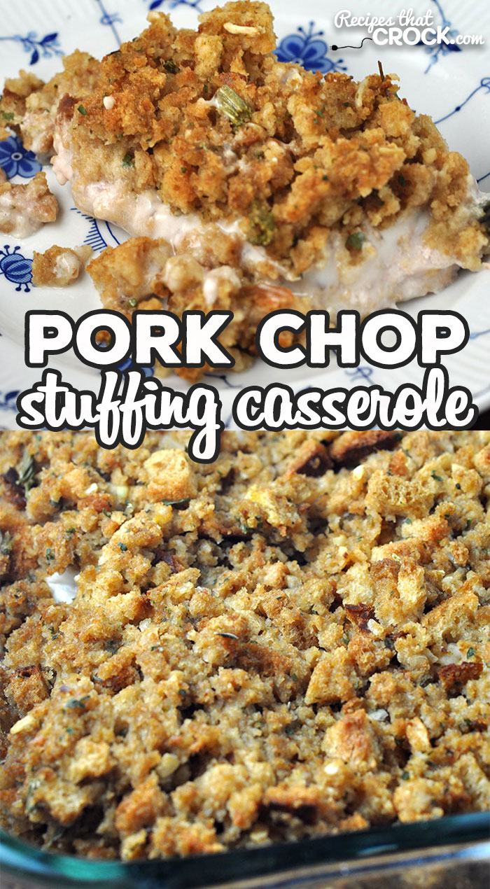 This Pork Chop Stuffing Casserole recipe for your oven is a delicious comfort food recipe that is simple to make and done in under and hour start to finish! via @recipescrock