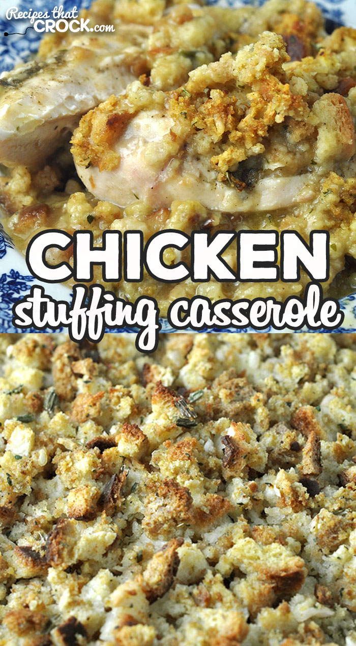 This Chicken Stuffing Casserole recipe for your oven gives you a flavorful dish in less than an hour start to finish. It is absolutely delicious! via @recipescrock