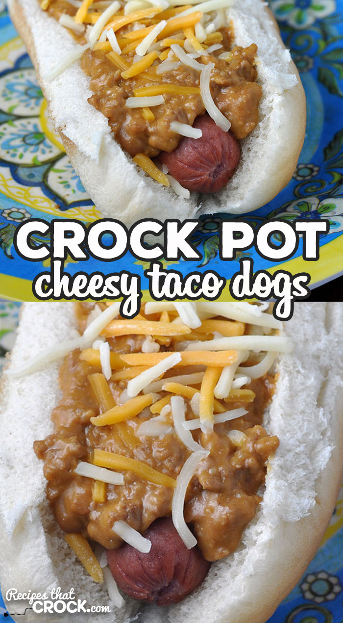 This simple Crock Pot Cheesy Taco Dogs recipe is so delicious and great for a treat at home or to take to a party or potluck! via @recipescrock