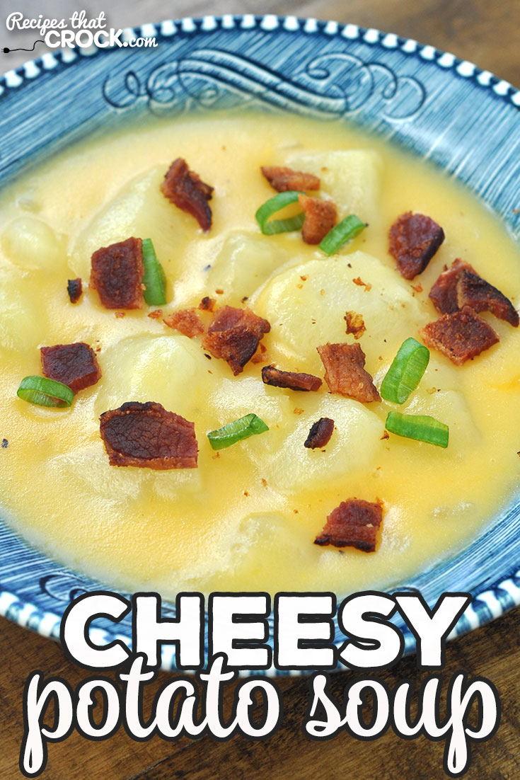 This Cheesy Potato Soup recipe for your stove top is a great way to eat a hearty dinner on a busy night! It is an amazing comfort food recipe! via @recipescrock