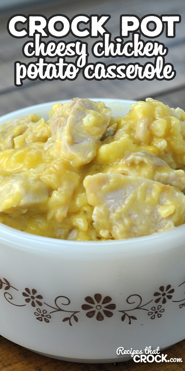 This Cheesy Crock Pot Chicken Potato Casserole recipe has it all! It is super simple to make and has great flavor. Young and old alike will love it! via @recipescrock