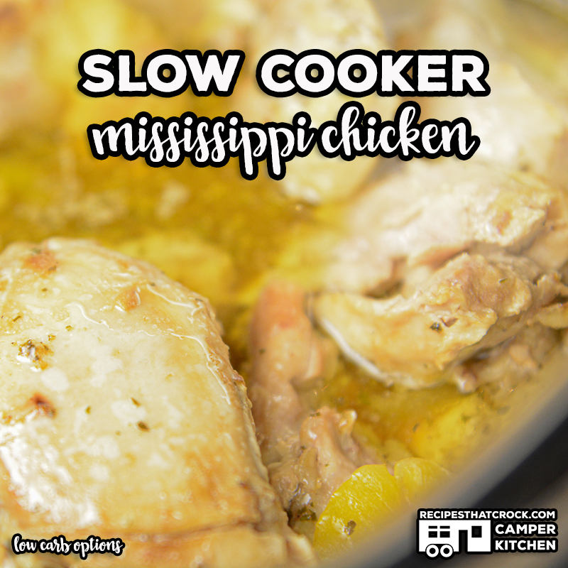 Slow Cooker Mississippi Chicken is a tried and true chicken crock pot recipe that turns out tender, savory chicken every time. This family favorite is great for beginners and experienced cooks. Low carb options also available!