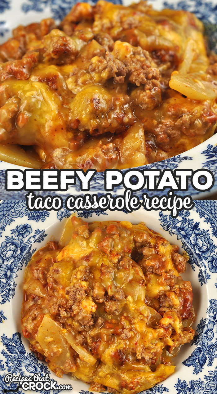 This Beefy Potato Taco Casserole is the oven version of one of reader favorite crock pot recipes. It is a delicious dish that everyone loves! via @recipescrock