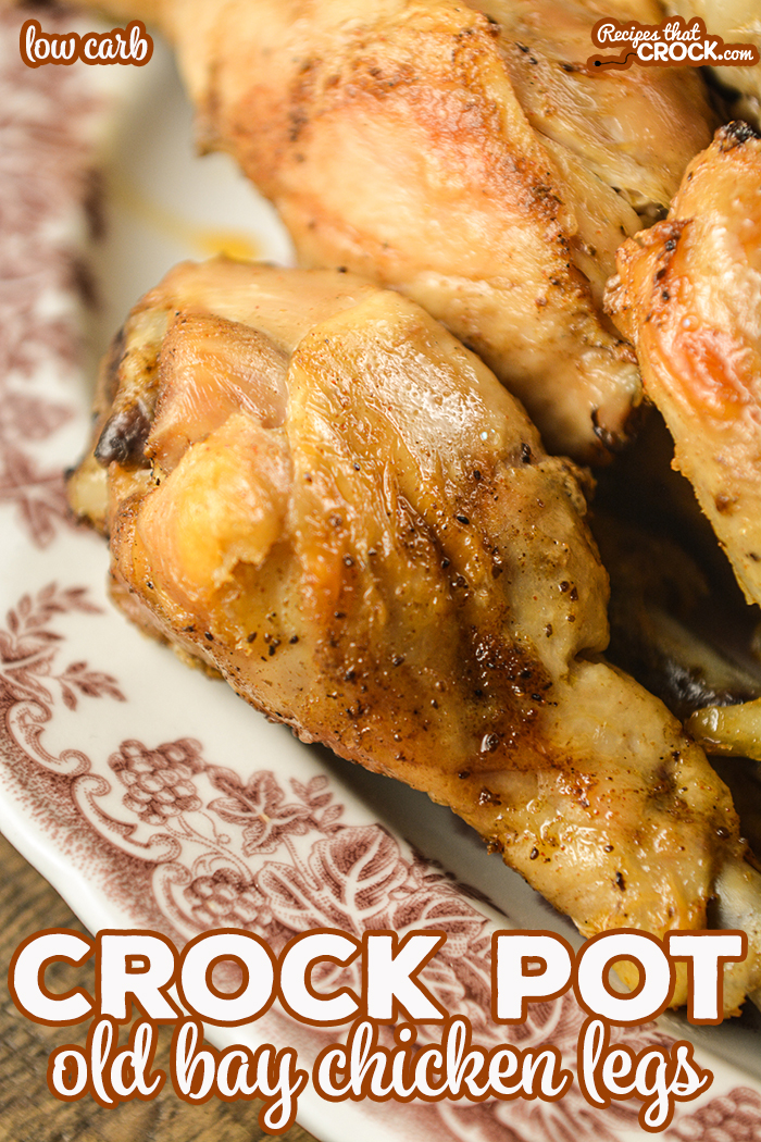 These Crock Pot Old Bay Chicken Legs are flavorful, low carb and incredibly simple to make! Everyone will be asking you for this recipe and won't believe you when you tell them how easy it is! via @recipescrock