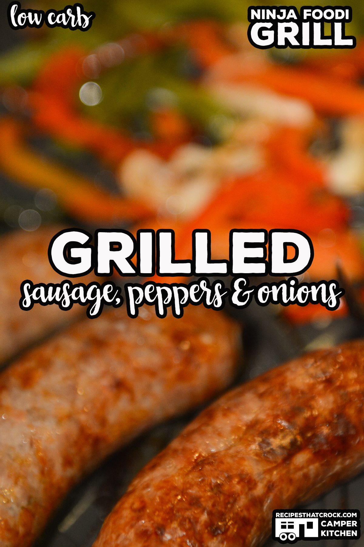 Grilled Sausage, Peppers and Onions is a super simple low carb meal you can make in your Ninja Foodi Grill or traditional grill. via @recipescrock