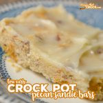 Our Low Carb Crock Pot Pecan Sandie Bars are an easy low carb dessert you can make in the slow cooker. These sugar free treats are sweet, sandy and buttery. Yum!