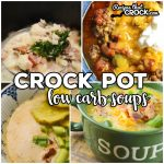 We love Low Carb Crock Pot Soup Recipes! Favorites like Loaded Cauliflower Soup, Creamy Tomato, Bacon Cheeseburger Soup, Beefy Vegetable, Italian Wedding Soup, Broccoli Chicken Alfredo, Crab Soup, and Zuppa Toscana are all included in this collection of crock pot low carb soup recipes.