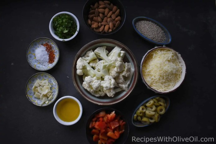 ingredients for pasta with cauliflower and olives