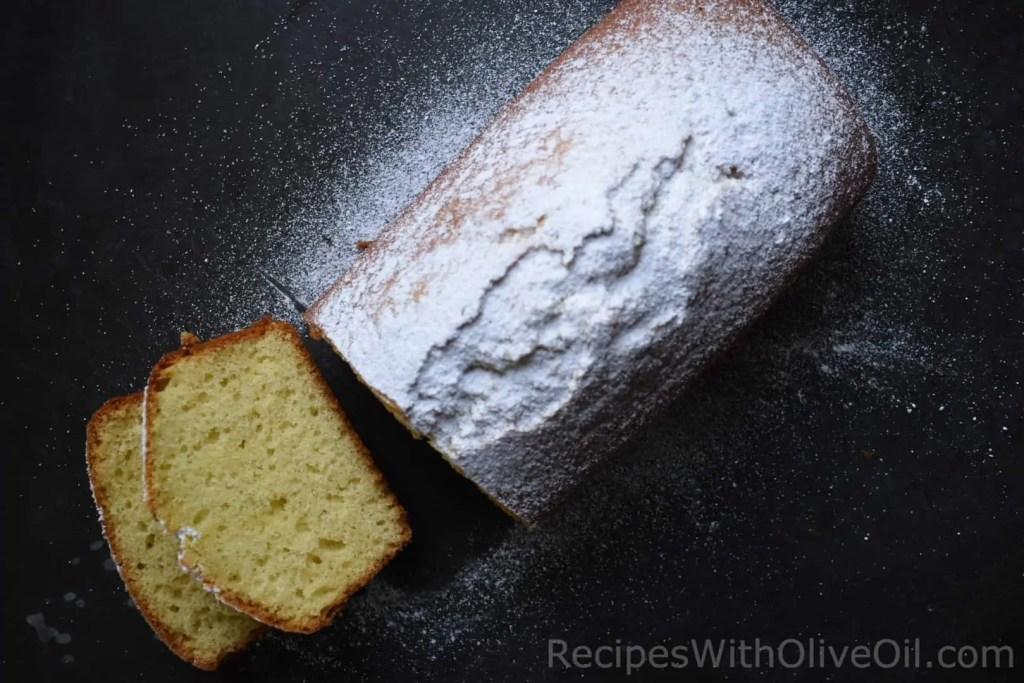 moist olive oil yogurt cake powdered sugar