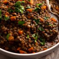 Big bowl of Lentil Ragout - French lentil side dish