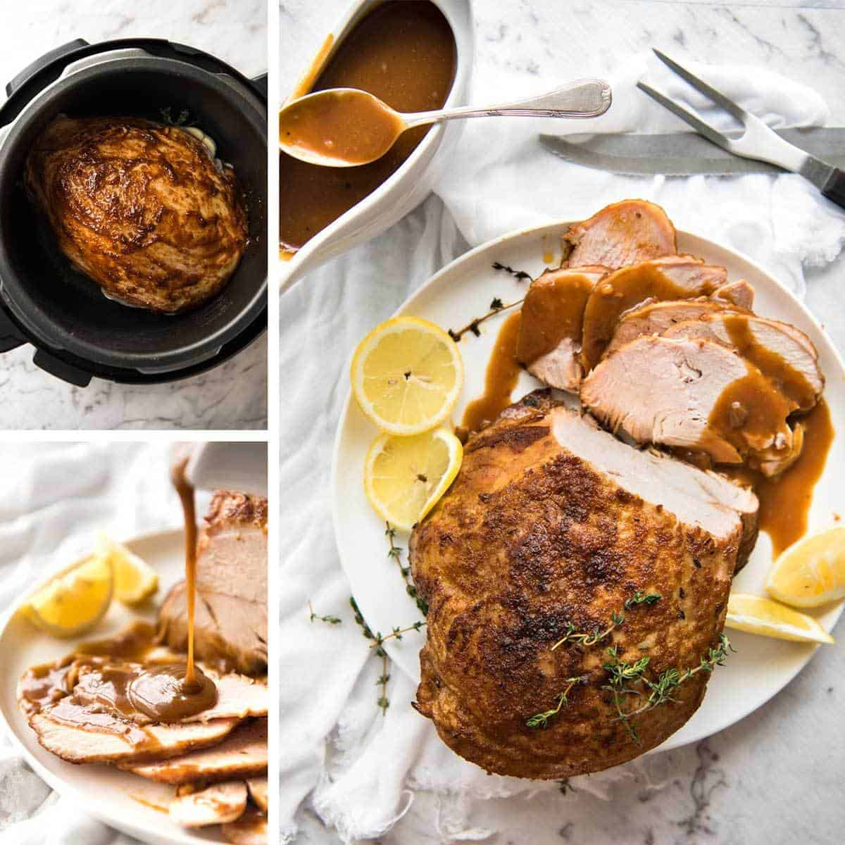Slow Cooker Turkey Breast - the safest and best way to make MOIST turkey breast without brining is with your crockpot! www.recipetineats.com