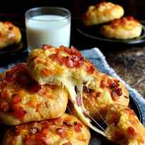 Double Cheese and Bacon Rolls - topped AND stuffed with cheese and bacon!