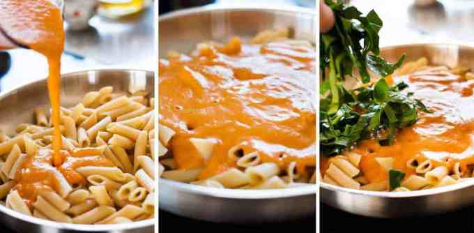 Photo sequence showing steps for making Creamy Sun Dried Tomato Pasta