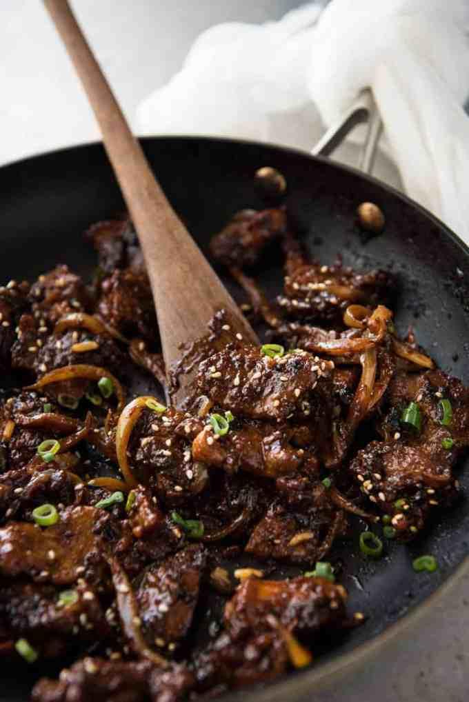 Spicy Korean Pork Stir Fry in wok