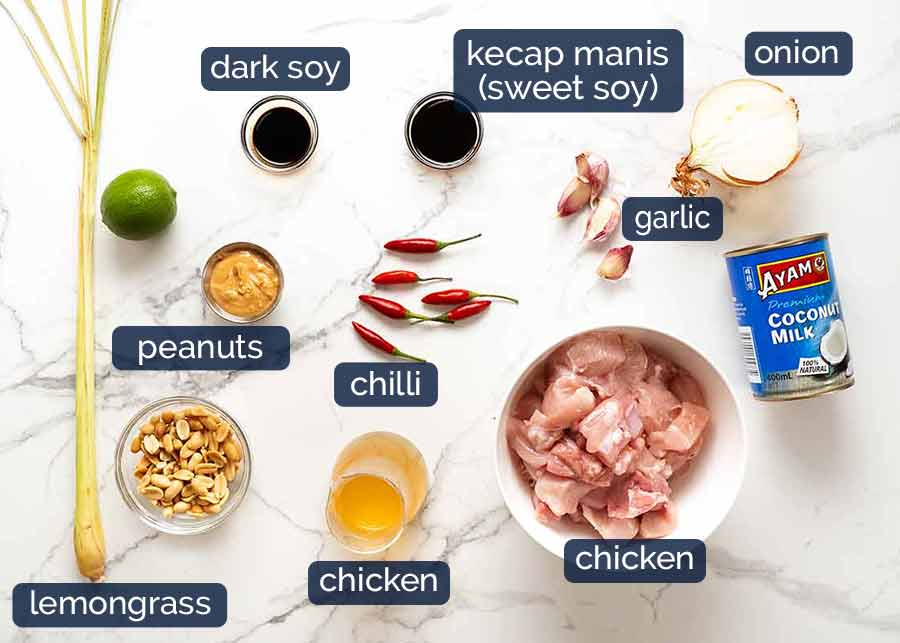Ingredients in Chicken Satay Curry (Malaysian)