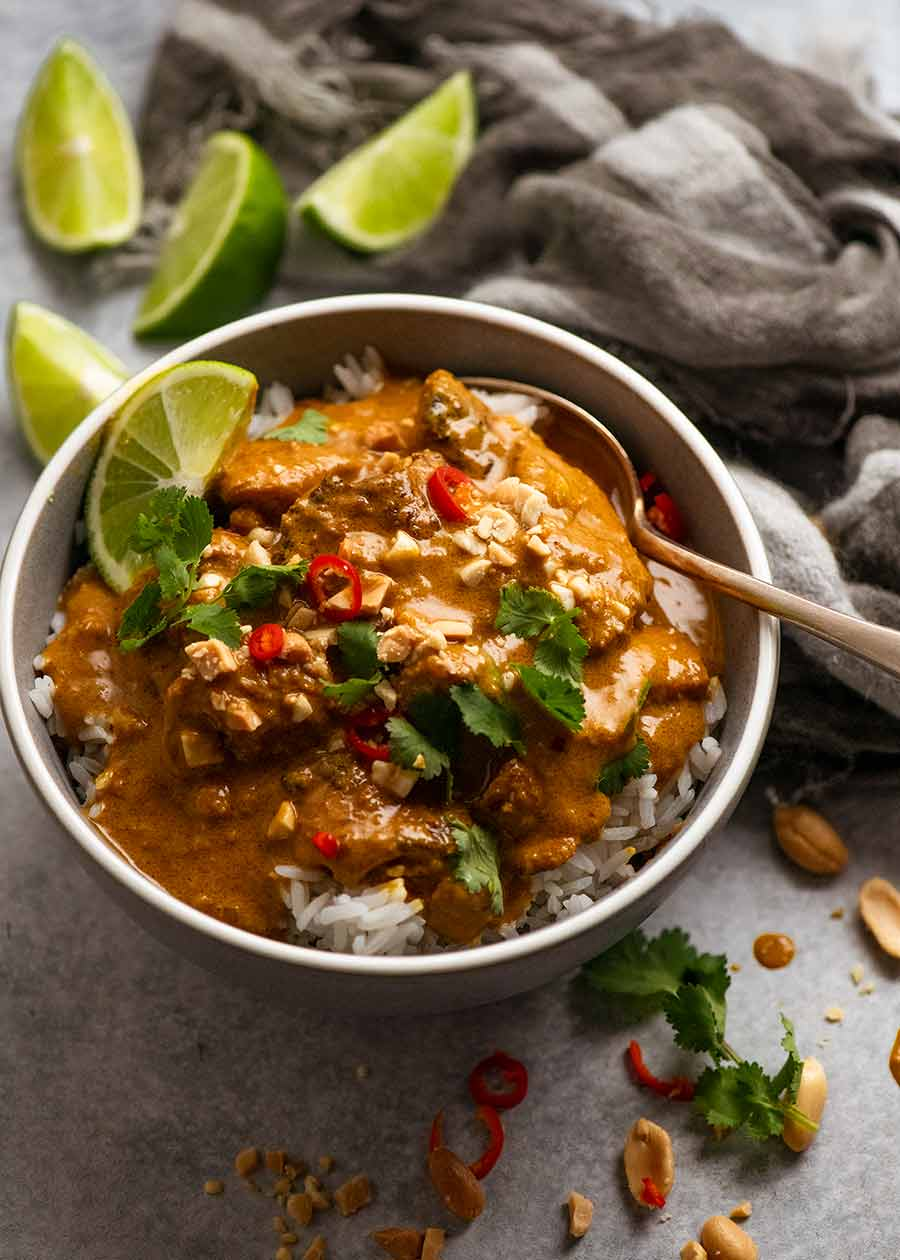 Bowl of Chicken Satay Curry (Malaysian) served over Jasmine Rice