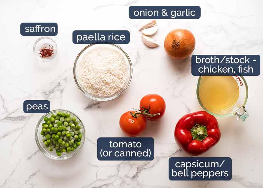 Ingredients in Paella