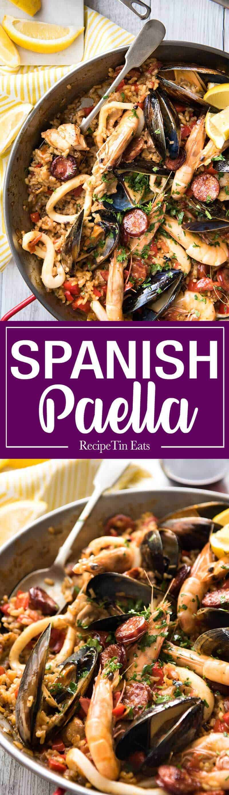 Spanish Paella - The right rice, right amount of liquid and the base seasonings is the foundation of a great Paella. The additions are up to you! This is a classic Chicken & Seafood Paella. recipetineats.com