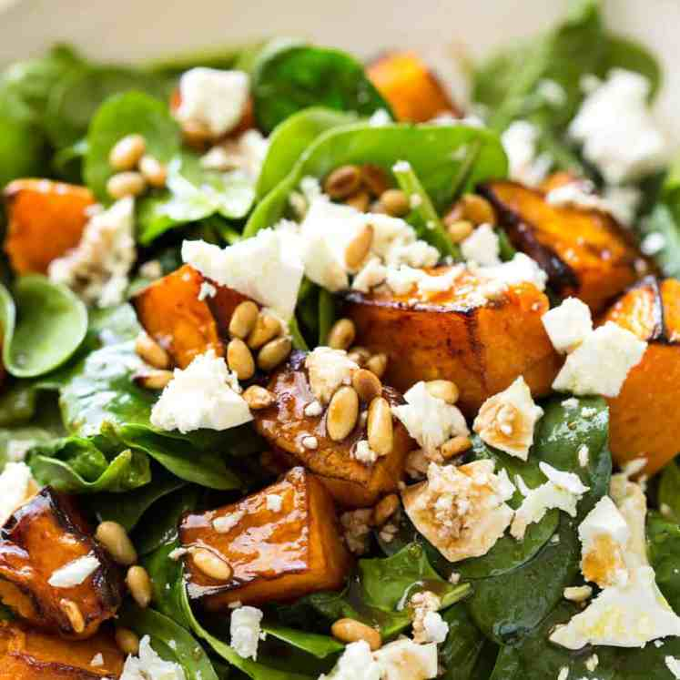 This Roast Pumpkin, Spinach and Feta Salad with a Honey Balsamic Dressing is a magical combination. Terrific side or as a meal. recipetineats.com