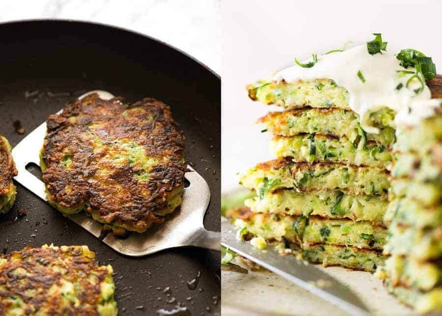 Crispy Zucchini Fritters in a black skillet, fresh off the stove, and also showing the inside of the fritters