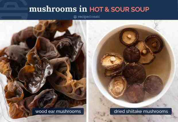 Mushrooms for Hot and Sour Soup - dried shiitake mushrooms and wood ear mushrooms