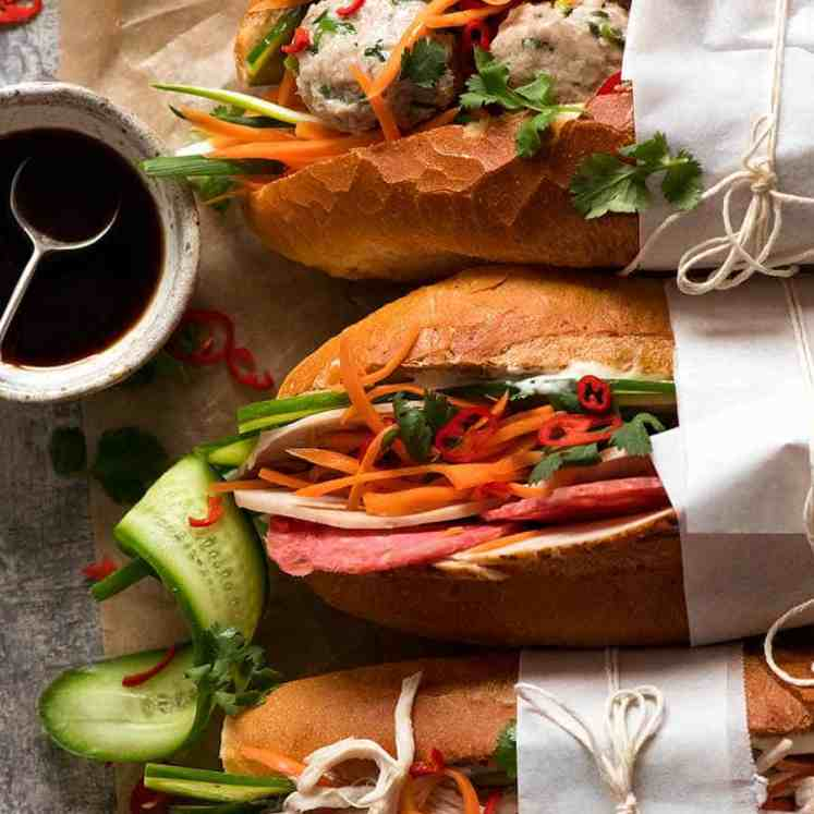 Overhead photo of Banh Mi (Vietnamese Sandwich Baguette)