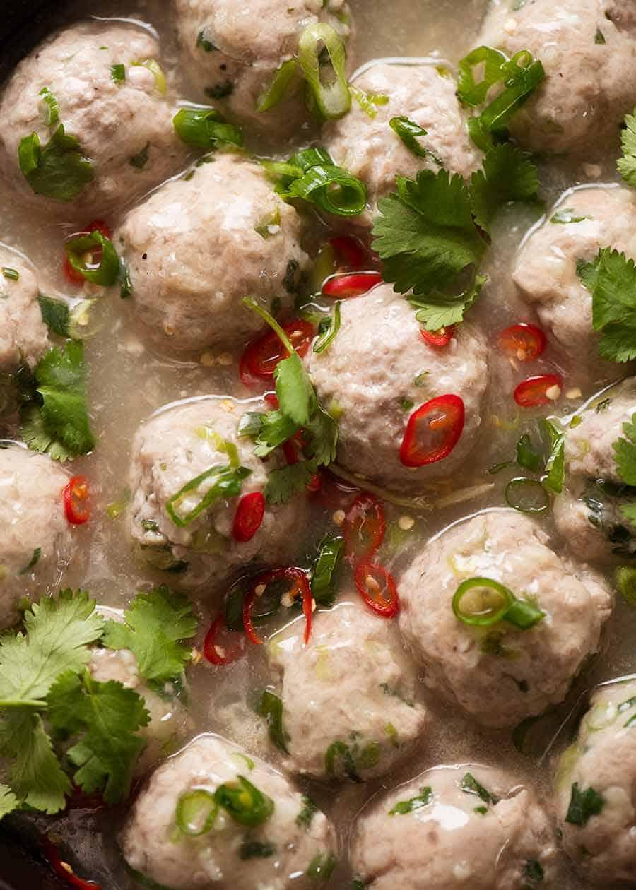 Overhead close up photo of Vietnamese Pork Meatballs for Banh Mi Vietnamese Sandwich