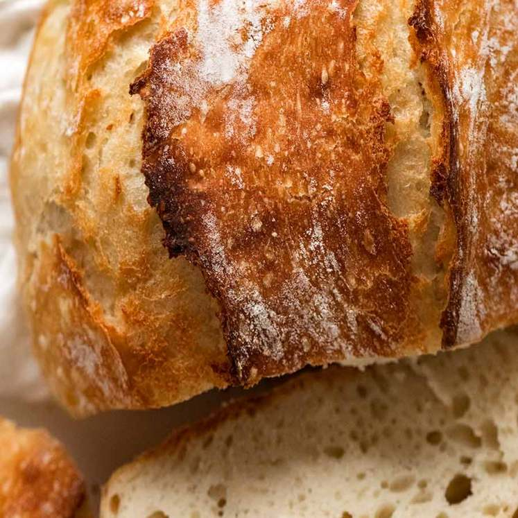 Close up of crispy crust of world's easiest yeast bread