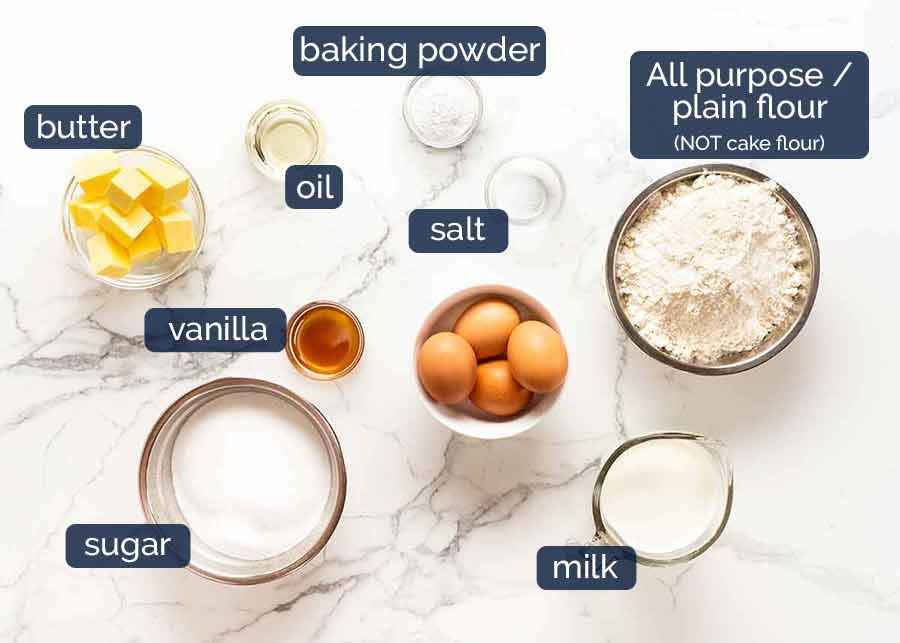 Ingredients in the BEST Vanilla cake - NO cake flour, NO buttermilk