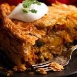 Close up of vegetarian Samosa Pie
