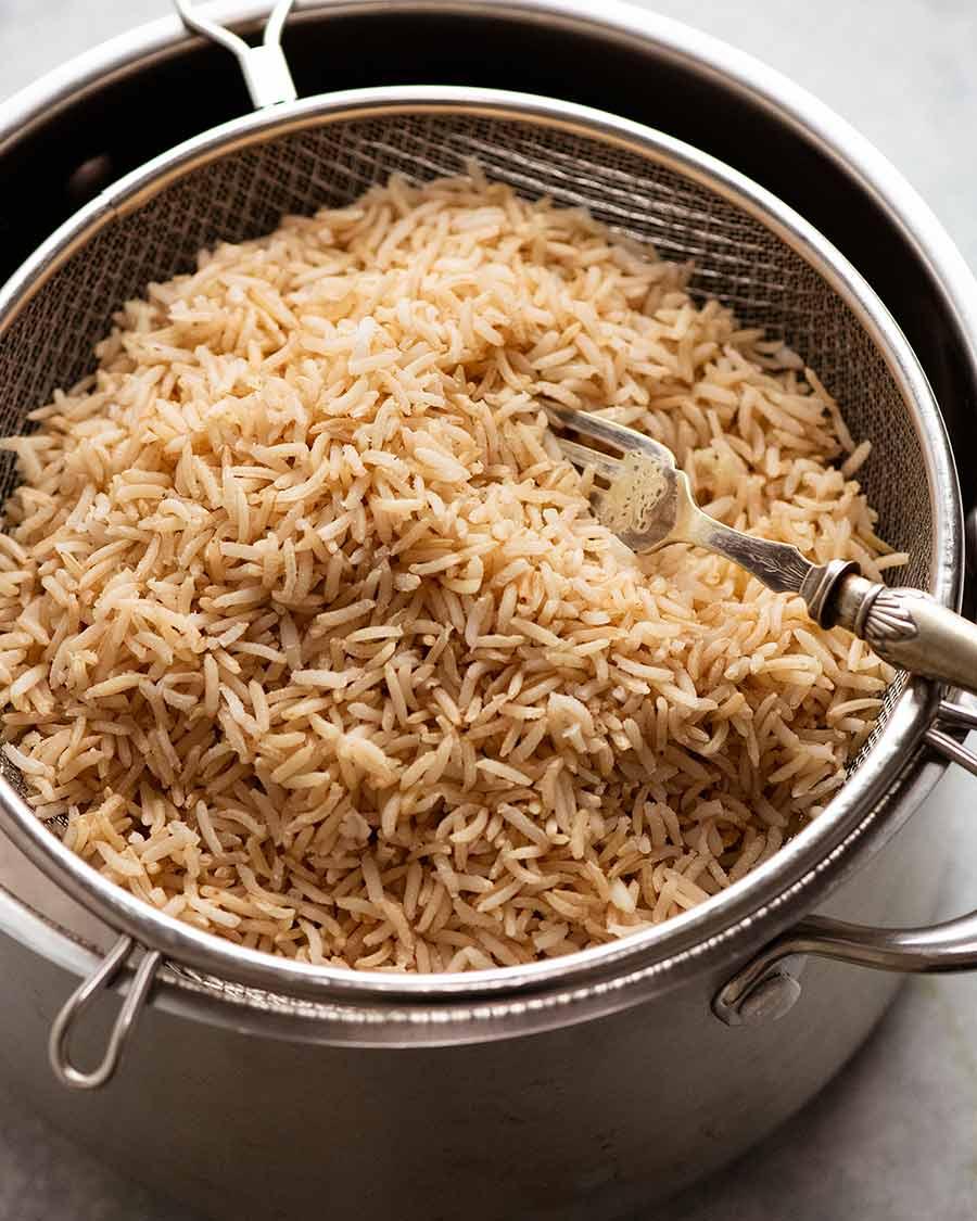 Pot of freshly cooked Brown Rice - Basmati Rice