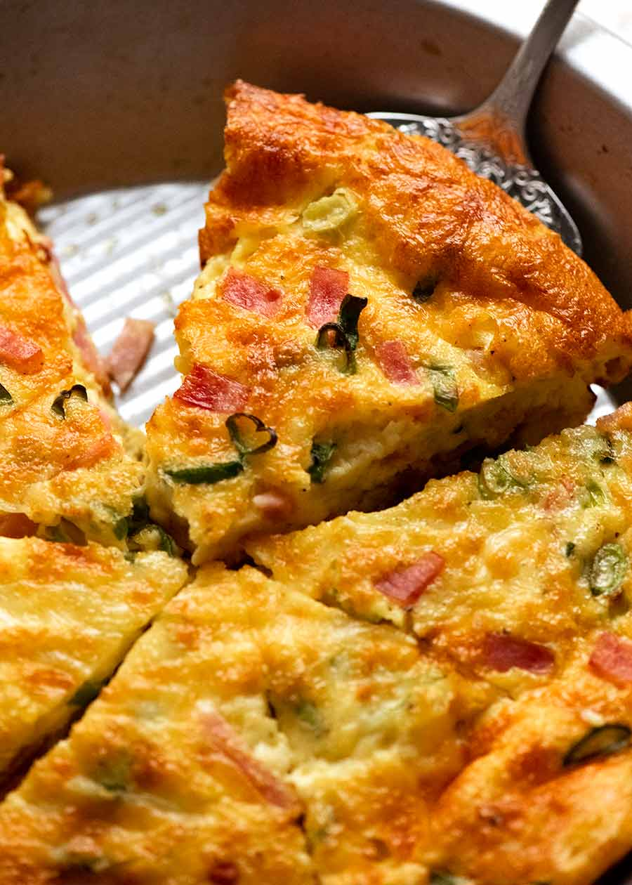 Crustless Quiche in a pie pan, fresh out of the oven