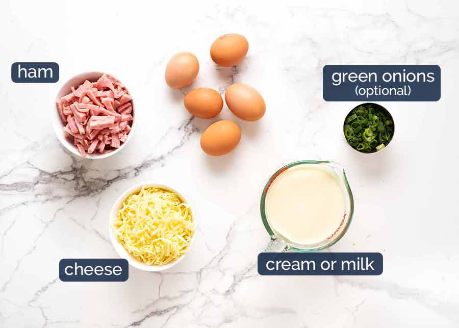 Ingredients in Crustless Quiche - Ham and Cheese