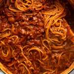 Close up of One Pot Pasta Bolognese, fresh off the stove