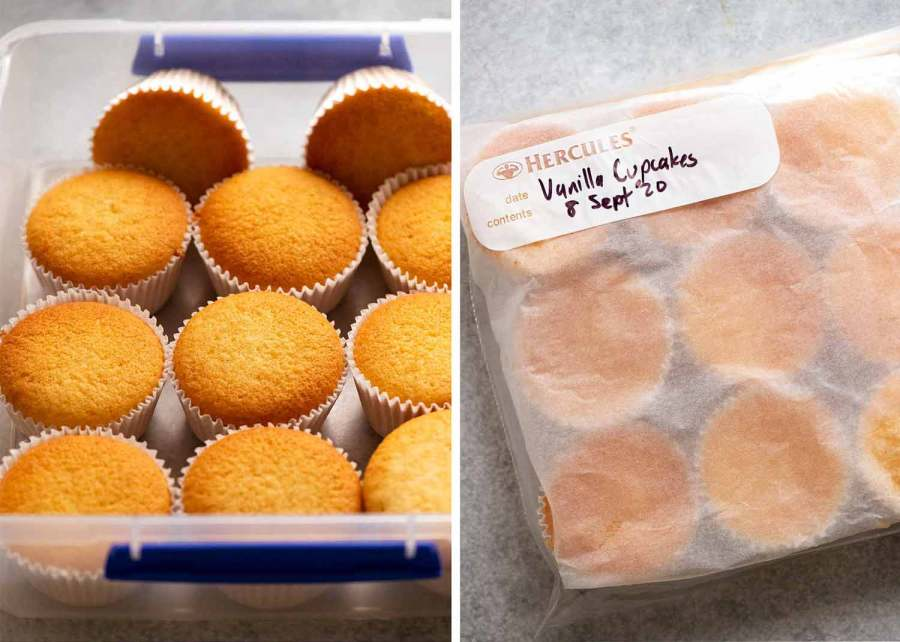 Photo showing how to store Vanilla Cupcakes
