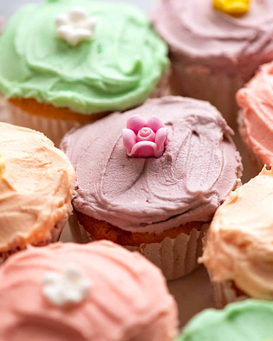 Vanilla Cupcakes with colourful buttercream frosting