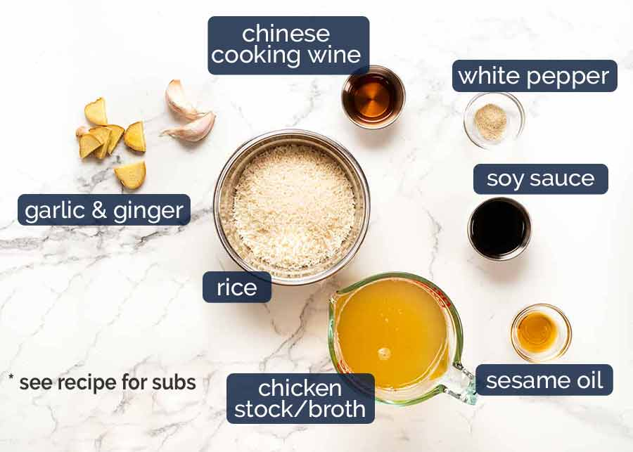 Ingredients for Chinese Rice Soup broth