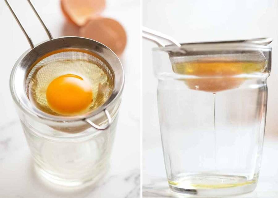Straining egg whites for poached eggs