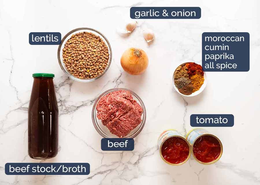 Ingredients in Beef and Lentil Soup (ground beef / beef mince)