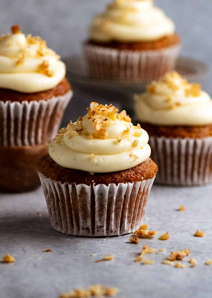 Close up of Carrot Cake Cupcakes with Cream Cheese Frosting