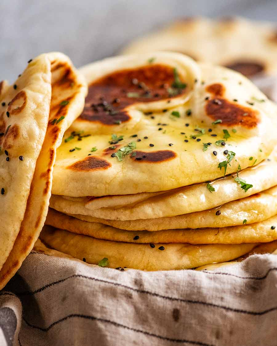 Stack of freshly cooked homemade naan