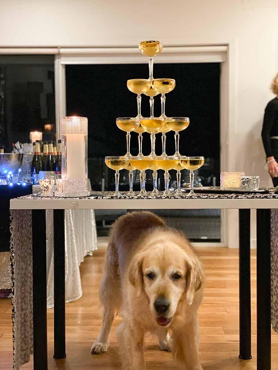 Dozer under champagne fountain