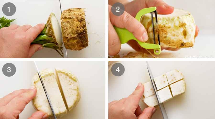 How to cut Celeriac