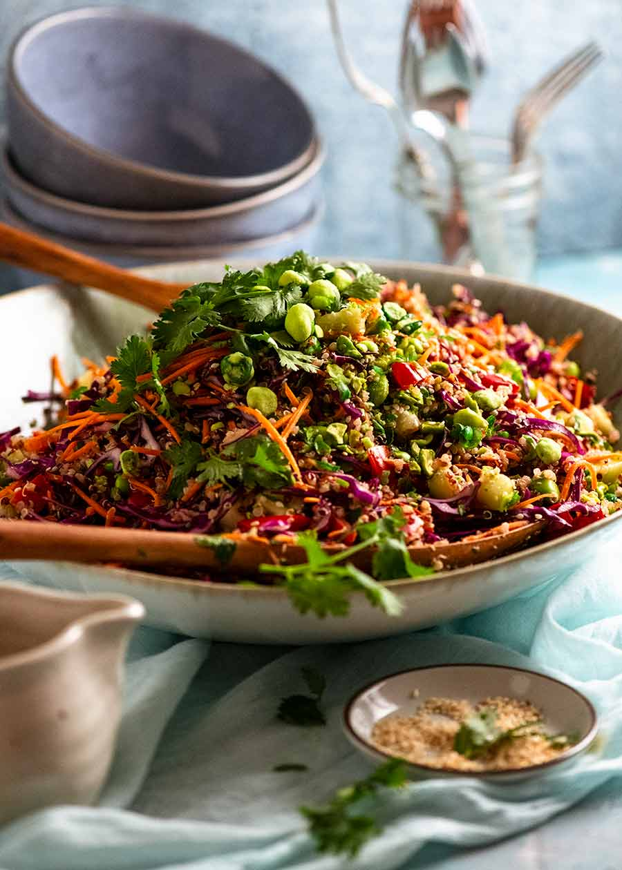 Side shot of Quinoa Salad in a bowl, ready to be served