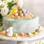 Easter Cake on a white stand, ready to be served