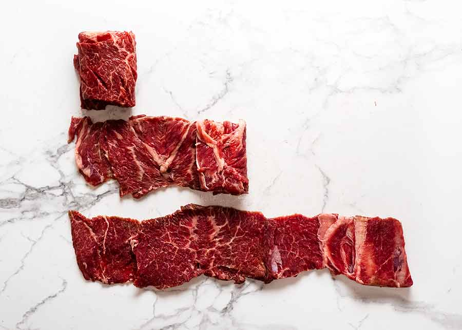 Unrolled raw Korean Beef Shortribs (butterflied, for Korean BBQ Marinated Beef Short ribs (Galbi))