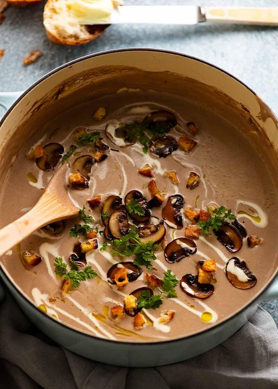 Freshly cooked pot of Mushroom Soup