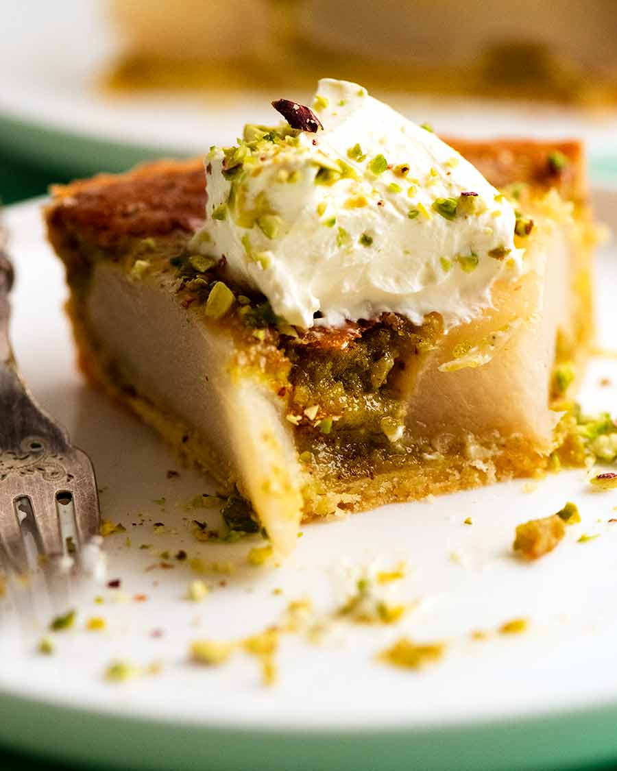 Showing the inside of Pistachio Pear Tart